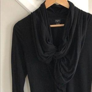 Deletta Black Long Sleeve Ruffle Front Top JS